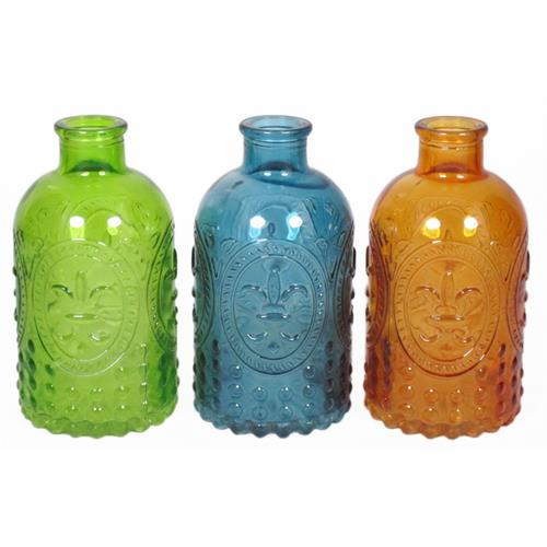 BOTTLE GLASS D3.5/6.5 H12.5CM 3 ASS ORANGE/GREEN/BLUE